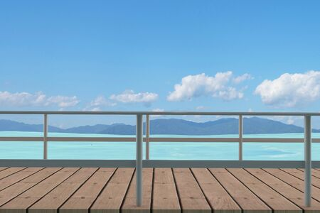 seaview with wood path in 3D render image Stock Photo