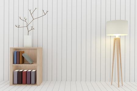 Boekenplank met lamp decoratie in witte kamer ontwerp in d