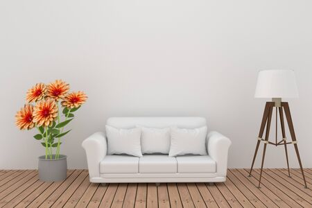 luxury living room: dahlia flower decoration with sofa and lamp in white room interior in 3D rendering Stock Photo
