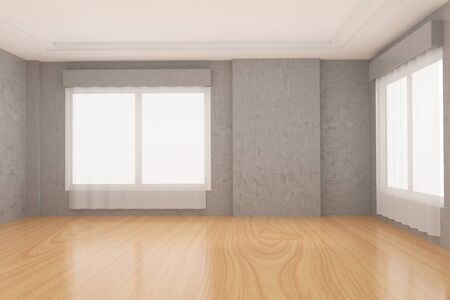living room wall: empty room in concrete wall and wood parquet floor in 3D rendering