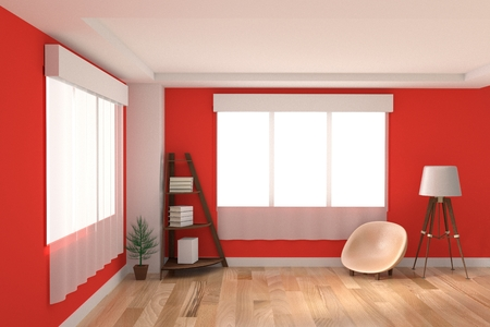 red sofa: interior modern with book shelf in red room design in 3D rendering Stock Photo