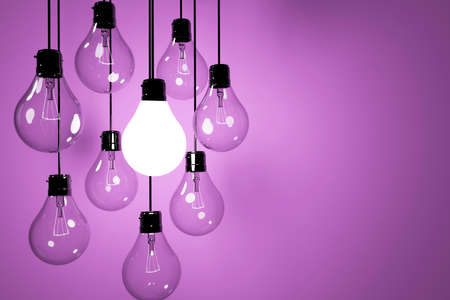 realistic lightbulbs  on pink  background in 3D rendering