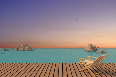 seaview with beach chair in lonely design in 3D rendering Stock Photo