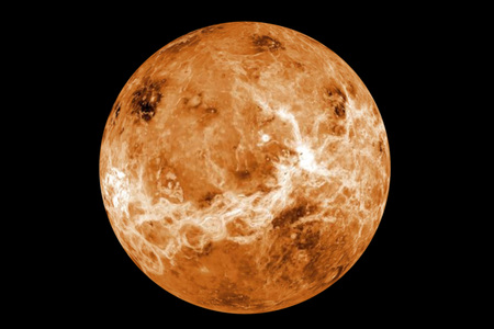 黒の非常に詳細な金星惑星。NASA から提供されたこのイメージの要素