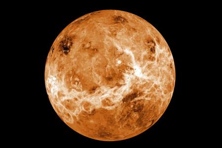 Planète Vénus très détaillée sur fond noir. Éléments de cette image fournis par la NASA
