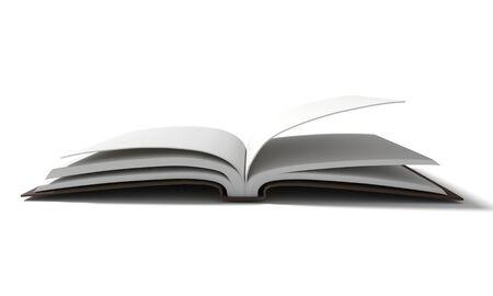 magazine stack: blank white book with brown hardcover on isolated white background in 3D rendering