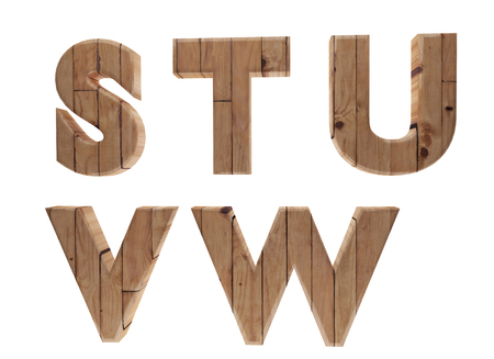u s: wooden alphabet letters english language S T U V W in 3D render image