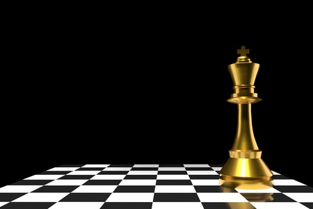 chess of king in gold in 3D rendering