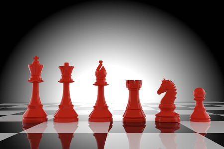 red chess figures on board in 3d rendering