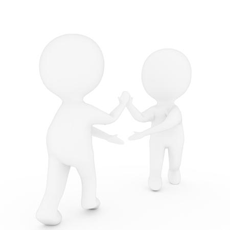 Petit deux personnes qui se serrent la main sur fond blanc isolé dans le rendu 3D Banque d'images - 79868483