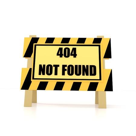 Fehler 404 nicht gefunden auf isolierte weiß in 3D-Rendering Standard-Bild
