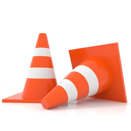 traffic cone isolated white in 3D rendering Stock Photo