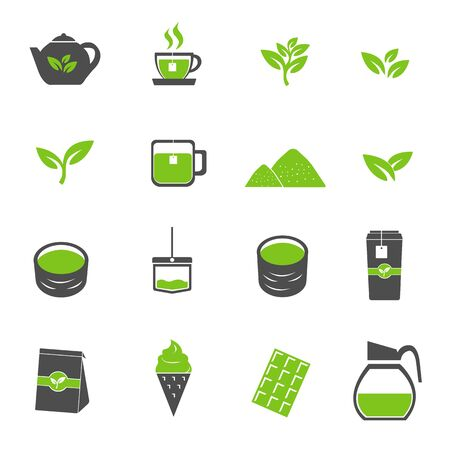 Green tea icons set vector Illustration