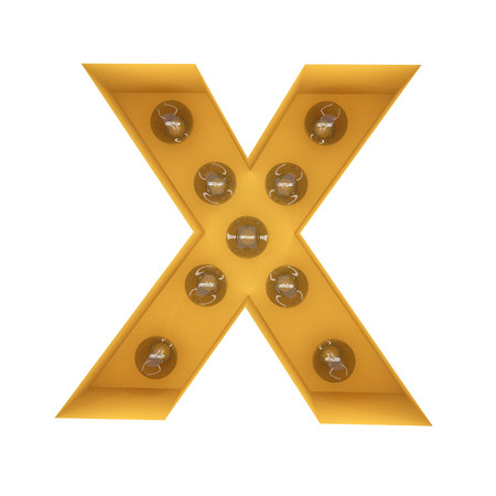 Letter X light sign yellow vintage. 3D rendering