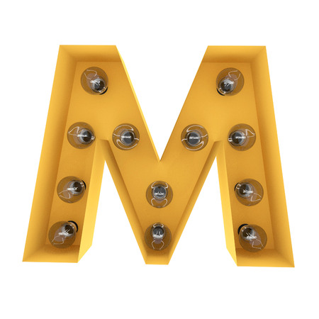 Letter M light sign yellow vintage. 3D rendering Stock Photo