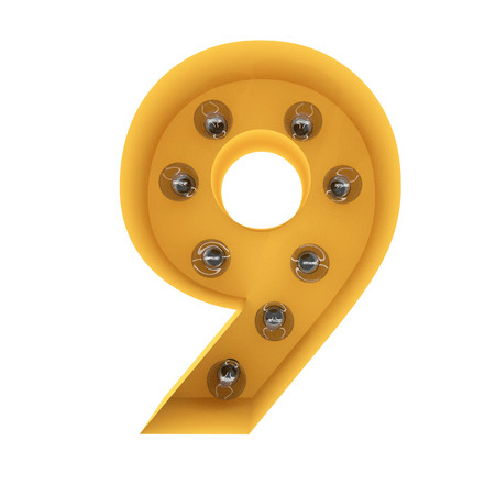 number 9 light sign yellow vintage. 3D rendering