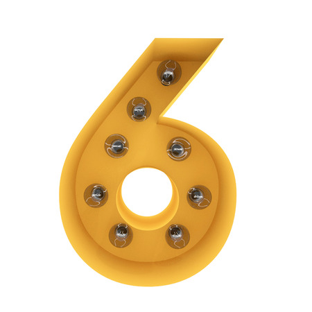 number 6 light sign yellow vintage. 3D rendering