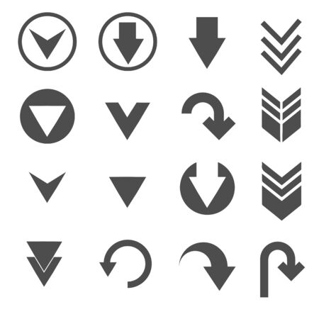 conjunto de iconos de signo de flecha hacia abajo