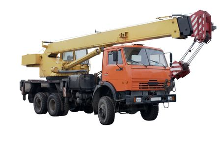 Truck Crane. Isolated object on a white background. photo