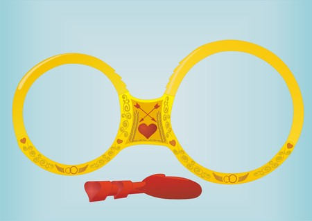 Golden handcuffs in the form of wedding rings, next is key from the heart. Vector