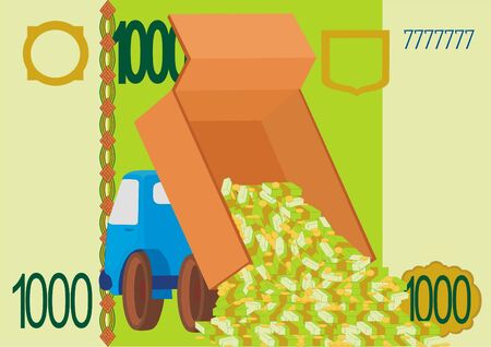 dignity: The truck with the money on the background of the banknote