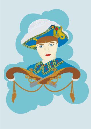 mosquetero: Una joven vestido como un mosquetero y las dos pistolas de duelos