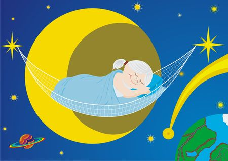 Little girl asleep in a hammock attached to the stars photo