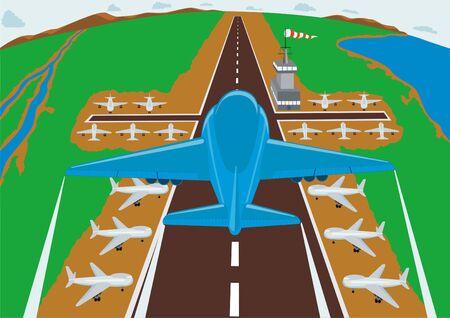 aileron: Runway airport. Aircraft entering to land