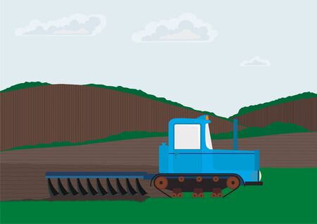 furrow: Spring farm work. Tractor plowing Stock Photo