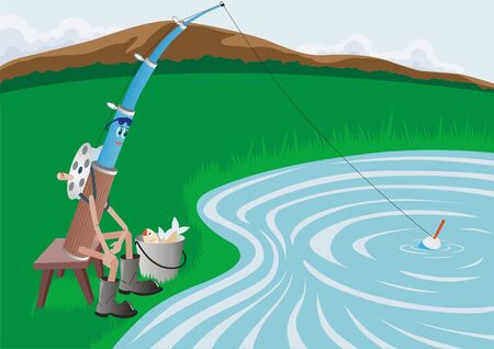 Animated image of fishing, which catches fish in the lake Stock Photo - 7270266