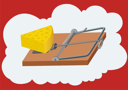 Free cheese comes only in a mousetrap. Illustration of credulity and subsequent punishment for their trust in those that it offers free. illustration