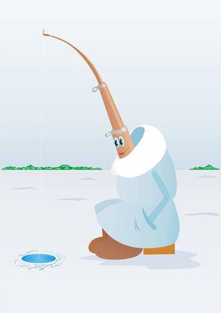 Fishing rod for winter fishing is fishing near the hole photo