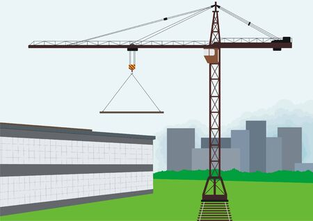 erection: Building. Tower crane involved for the construction of the building.