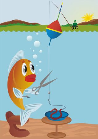 crafty: Crafty Goldfish with scissors suit yourself safe lunch, cutting bait on the rod.
