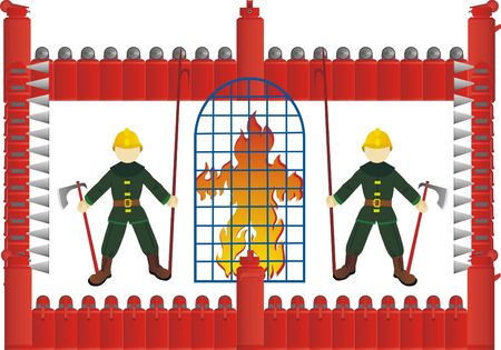imprisonment: Abstract image of fire in the cell, which stand guard employees of fire protection.