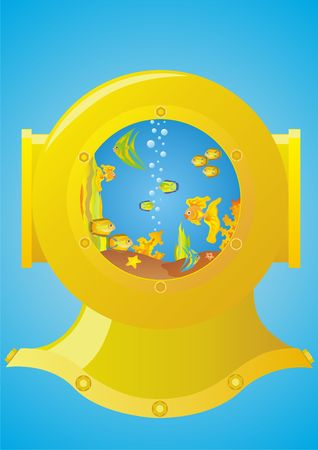 Helmet diver, inside which is an aquarium with fish Stock Photo - 7270253