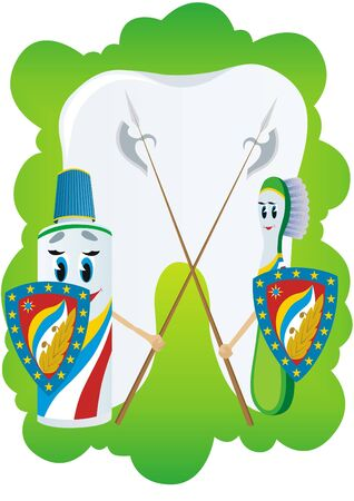 Toothpaste and toothbrush stand on guard to protect teeth. Stock Photo - 7360577