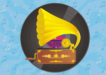 gilding: Background of music symbols. Against the backdrop of the vinyl disc shows the old player