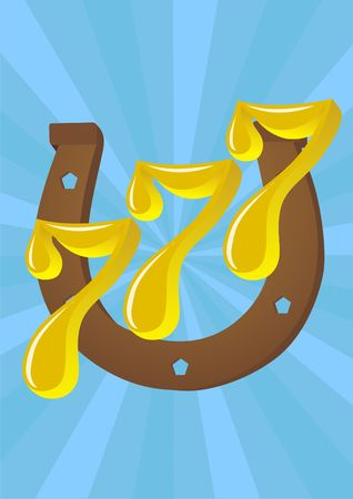 Happy combination of numbers yielding success against the background of a horseshoe