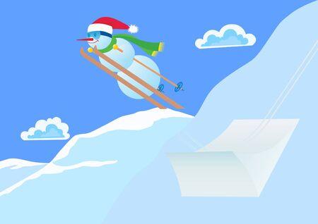Winter sport. Snowman ski jumping from a springboard. photo