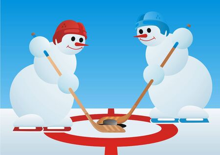 Team winter sport. Ice Hockey. Snowmen-hockey players Stock Photo - 7628439