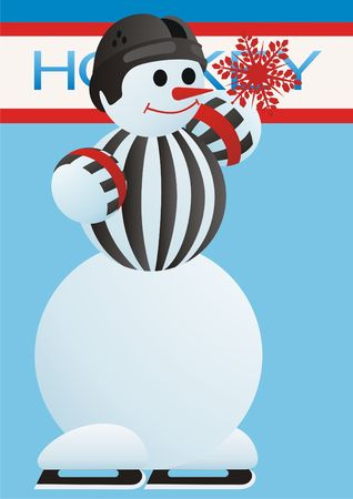 episode: Hockey episode. Snowman in the form of referee shows a red card. Stock Photo