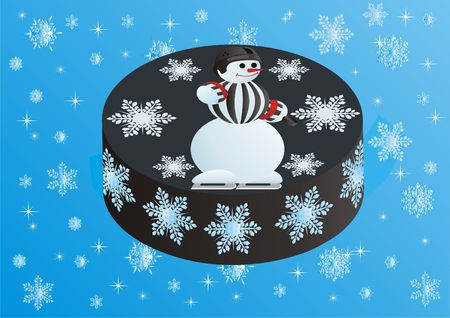 arbitrator: Picture of a snowman in the form of an arbitrator on a hockey puck.