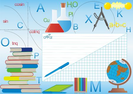 Illustration of school subjects representing school subjects and supplies Stock Illustration - 7628460