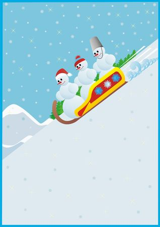 luge: Winter sport. Luge. Snowmen rolling down a hill on sleds