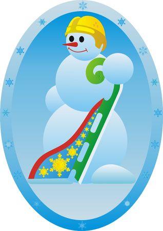 skids: Winter sport. Snowman athlete.Luge.