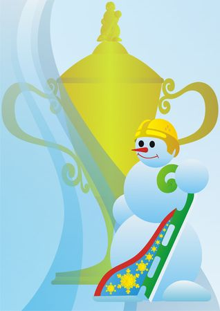 on the skids: Winter sport. Snowman athlete. Prize Cup. Stock Photo
