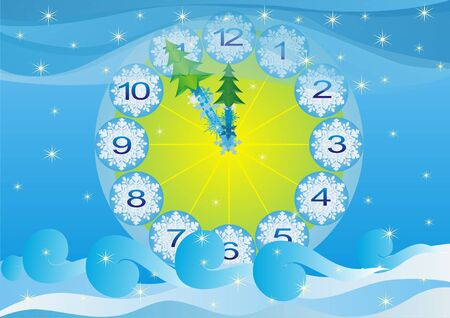 time remaining: Abstract background. The clock shows the time remaining before the New Year.