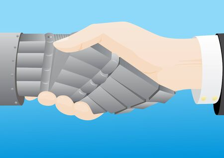wrist hands: Gesture. Handshake. Mans hand shakes a mechanical robot arm Stock Photo