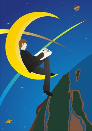 night suit: A man in a business suit sitting at night on the moon and wrote something on paper.